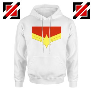 Captain Marvel Logo Hoodie Marvel Comics Hoodie Size S-2XL White