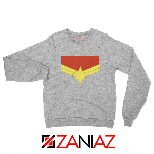 Captain Marvel Logo Sweatshirt Marvel Comics Sweatshirt Size S-2XL Sport Grey