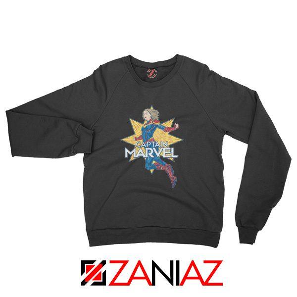 Captain Marvel Star Sweatshirt Superhero Sweatshirt Size S-2XL Black
