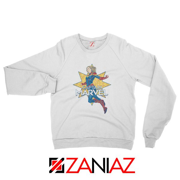 Captain Marvel Star Sweatshirt Superhero Sweatshirt Size S-2XL White