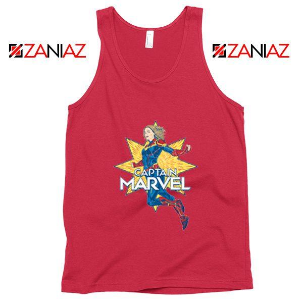 Captain Marvel Star Tank Top American Superhero Tank Top Red