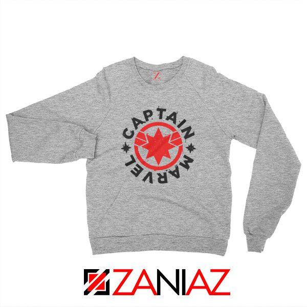 Captain Marvel Superhero Sweatshirt Marvel Comics Character Sport Grey