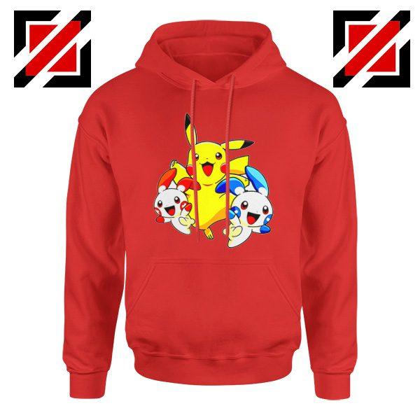 Hello Pokemon Hoodie Pokemon Pikachu Happy Hoodie Size S-2XL Red