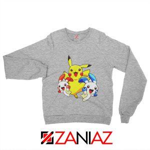 Hello Pokemon Sweatshirt Pokemon Pikachu Happy Sweatshirt Sport Grey
