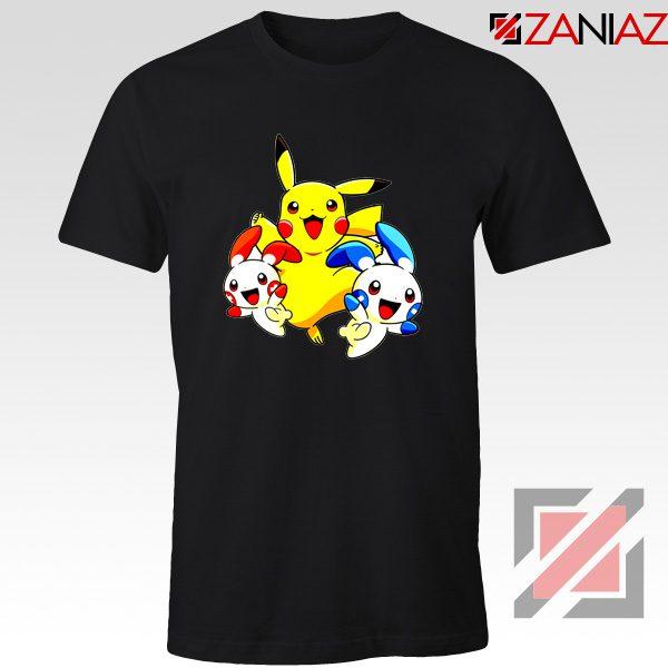Hello Pokemon T Shirts Pokemon Pikachu Happy T-Shirt Size S-3XL Black
