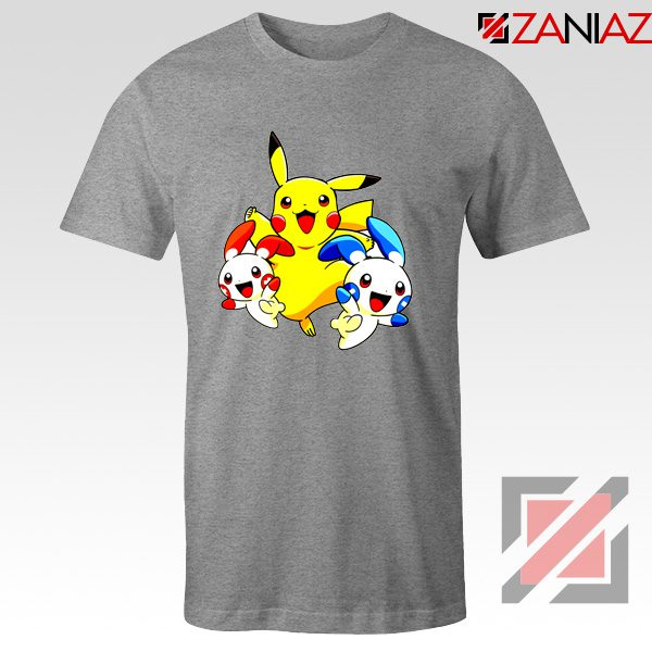 Hello Pokemon T Shirts Pokemon Pikachu Happy T-Shirt Size S-3XL Sport Grey