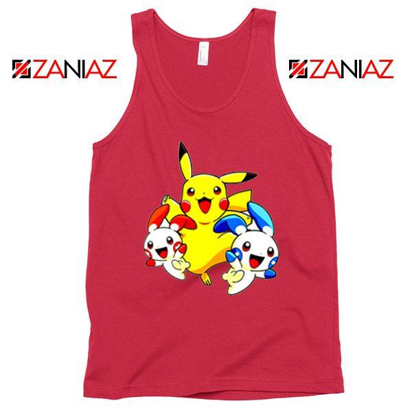Hello Pokemon Tank Top Pokemon Pikachu Happy Tank Top Size S-3XL Red