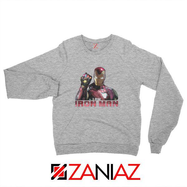 I Am Iron Man Infinity Gauntlet Sweatshirt Avengers Endgame Sport Grey