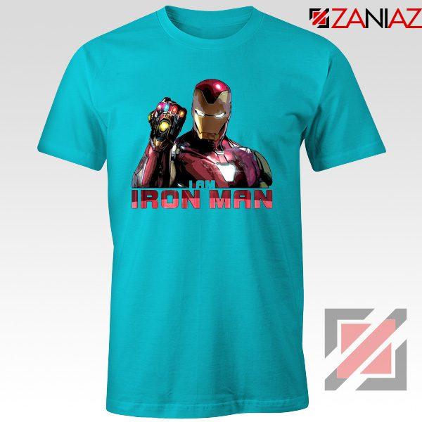 I Am Iron Man Infinity Gauntlet T-shirts Avengers Endgame Tshirts Light Blue