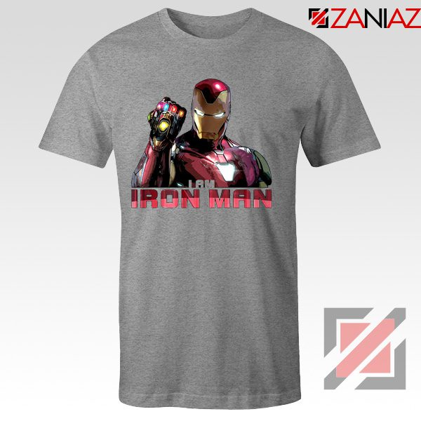 I Am Iron Man Infinity Gauntlet T-shirts Avengers Endgame Tshirts Sport Grey