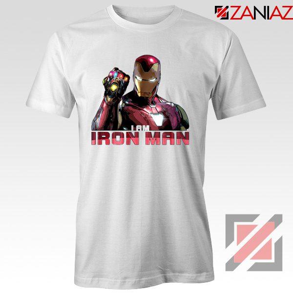 I Am Iron Man Infinity Gauntlet T-shirts Avengers Endgame Tshirts White