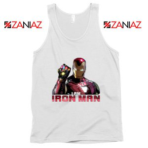 I Am Iron Man Infinity Gauntlet Tank Top Avengers Endgame White