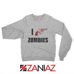 I Heart Zombies Sweatshirt The Walking Dead Sweatshirt Size S-2XL Sport Grey