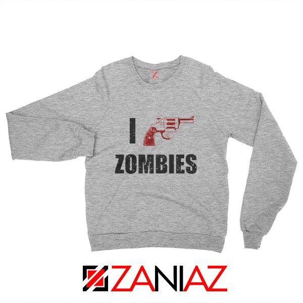 I Heart Zombies Sweatshirt The Walking Dead Sweatshirt Size S-2XL Sport Grey