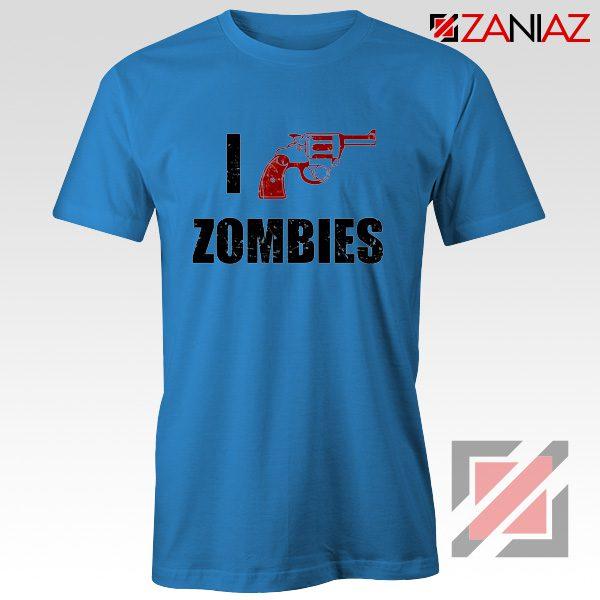 I Heart Zombies T-Shirt The Walking Dead Tee Best Shirt Size S-3XL Blue