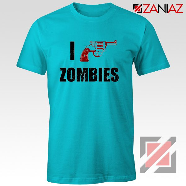 I Heart Zombies T-Shirt The Walking Dead Tee Best Shirt Size S-3XL Light Blue