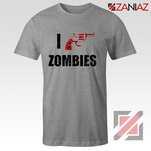 I Heart Zombies T-Shirt The Walking Dead Tee Best Shirt Size S-3XL Sport Grey