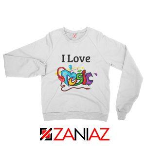 I Love Music Sweatshirt The Best Music Festival Sweatshirt Size S-2XL Grey White