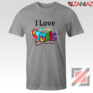 I Love Music T-Shirt The Best Music Festival T-Shirts Size S-3XL Grey