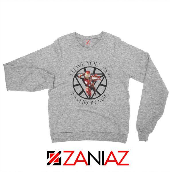 I Love You 3000 Sweatshirts Marvel Iron Man Sweatshirts Size S-2XL Sport Grey