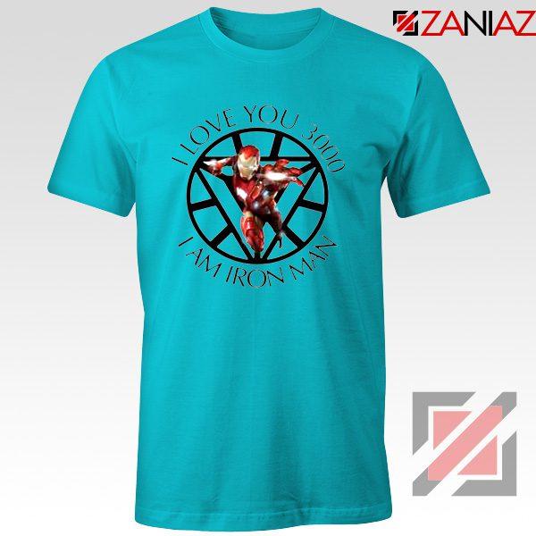 I Love You 3000 T-Shirts Marvel Iron Man Tee Shirts Size S-3XL Light Blue