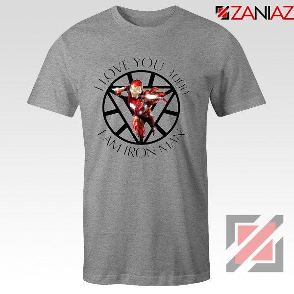 I Love You 3000 T-Shirts Marvel Iron Man Tee Shirts Size S-3XL Sport Grey