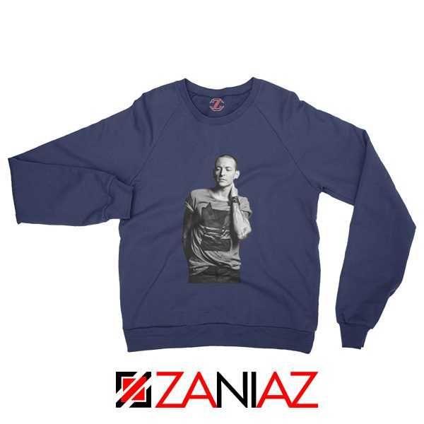 Linkin Park Sweatshirt Chester Charles Bennington Sweatshirt Size S-2XL Navy