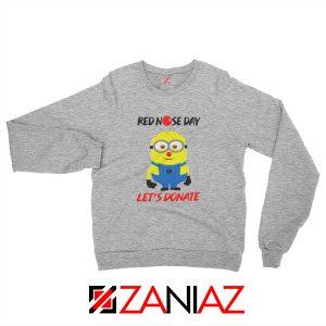 Minion Red Nose Day Sweatshirt Funny Minion Sweatshirt Size S-2XL Sport Grey