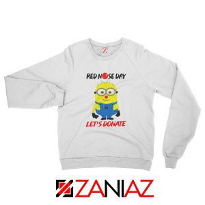 Minion Red Nose Day Sweatshirt Funny Minion Sweatshirt Size S-2XL White