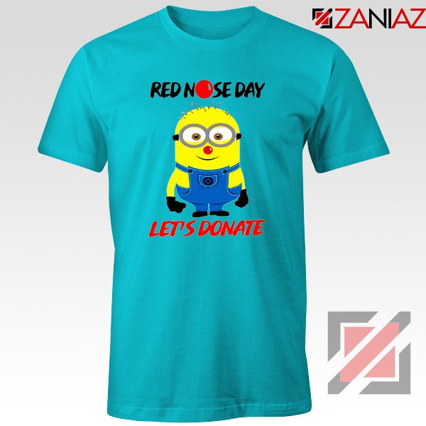 Minion Red Nose Day T-Shirt Funny Minion Tshirts Size S-3XL Light Blue
