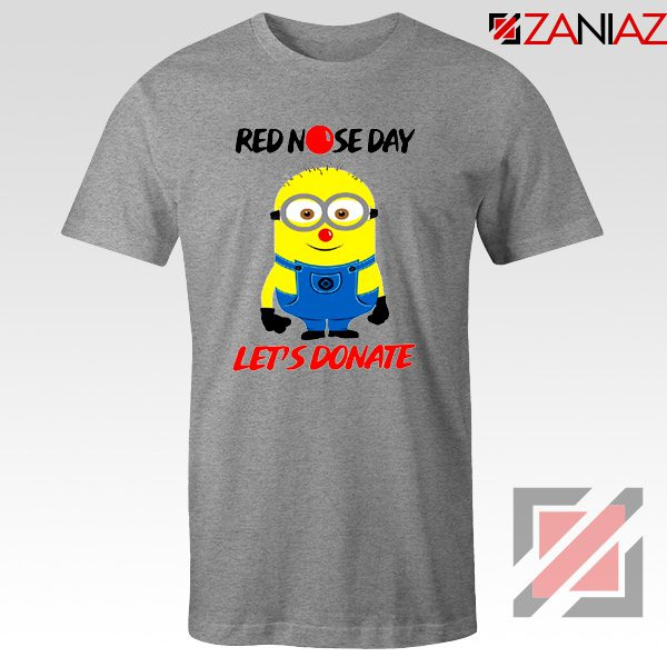 Minion Red Nose Day T-Shirt Funny Minion Tshirts Size S-3XL Sport Grey