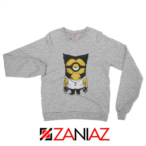 Minion Wolverine Sweatshirt Funny Minion Best Sweatshirt Grey