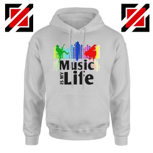 Music is My Life Hoodie Nightclubs Music Cheap Hoodie Size S-2XL Grey