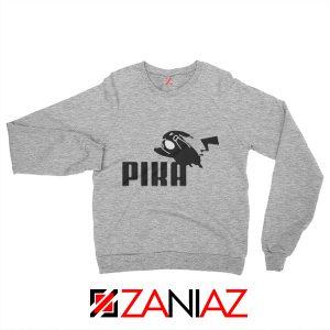 Pika Sweatshirt Pokemon and Puma Parody Sweatshirt Size S-2XL Sport Grey