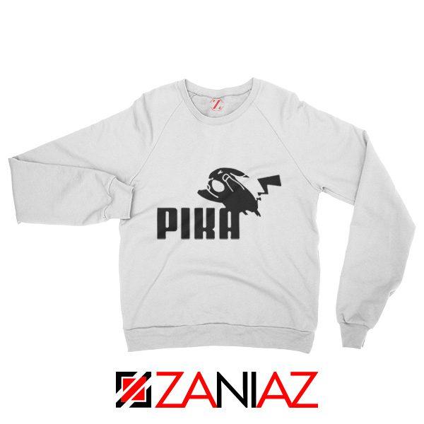 Pika Sweatshirt Pokemon and Puma Parody Sweatshirt Size S-2XL White