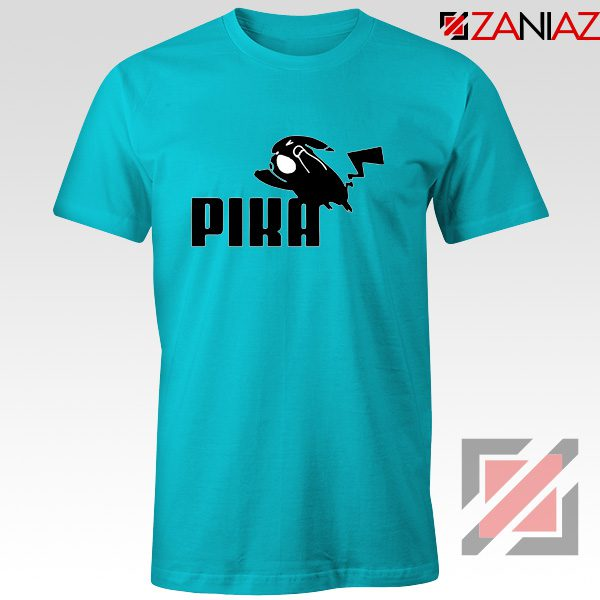 Pika T-Shirt Pokemon and Puma Parody Cheap T-shirt Size S-3XL Light Blue