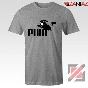 Pika T-Shirt Pokemon and Puma Parody Cheap T-shirt Size S-3XL Sport Grey