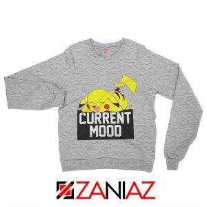 Pokemon Pikachu Current Mood Adult Best Sweatshirt Size S-2XL Sport Grey