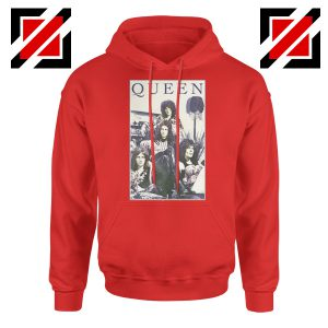 Queen Band Frame Hoodie Music Rock Band Hoodie Size S-2XL Red