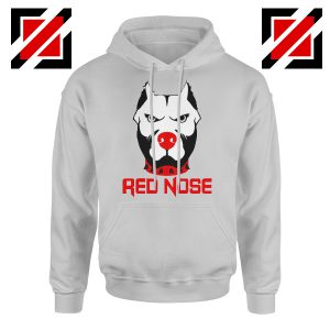 Red Nose Day Pitbull Dog Hoodie Comic Relief Hoodie Size S-2XL Sport Grey