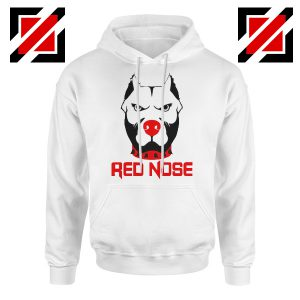 Red Nose Day Pitbull Dog Hoodie Comic Relief Hoodie Size S-2XL White