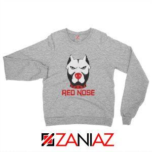 Red Nose Day Pitbull Dog Sweatshirt Comic Relief Sweatshirt Size S-2XL Sport Grey