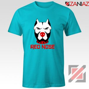 Red Nose Day Pitbull Dog T-Shirt Comic Relief T-Shirt Size S-3XL Light Blue