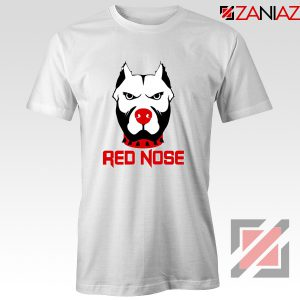 Red Nose Day Pitbull Dog T-Shirt Comic Relief T-Shirt Size S-3XL White