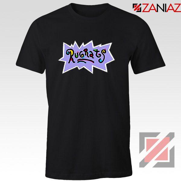 Rugrats Logo T-Shirts Nickelodeon Cheap T-Shirt Size S-3XL Black