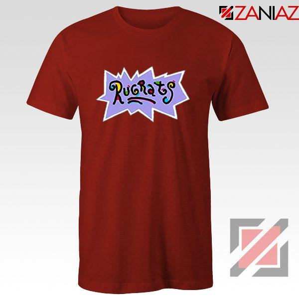Rugrats Logo T-Shirts Nickelodeon Cheap T-Shirt Size S-3XL Red