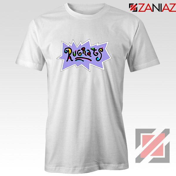 Rugrats Logo T-Shirts Nickelodeon Cheap T-Shirt Size S-3XL White