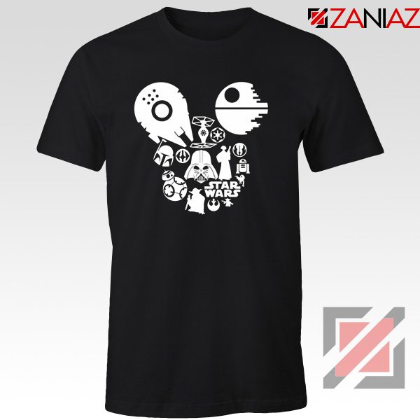 Star Wars Disney Mickey Head T-Shirts Disney Family Tshirt Black