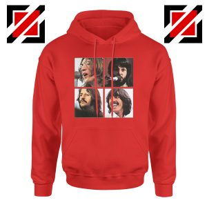 The Beatles Face Hoodie Rock Band Music Hoodie Size S-2XL Red