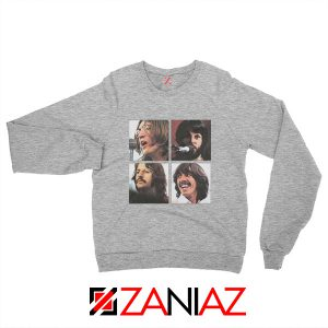 The Beatles Face Sweatshirt Rock Band Music Sweatshirt Size S-2XL Sport Grey